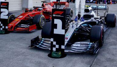 2019 Japanese GP Bottas Hamilton Vettel parc ferme after the race Photo Daimler
