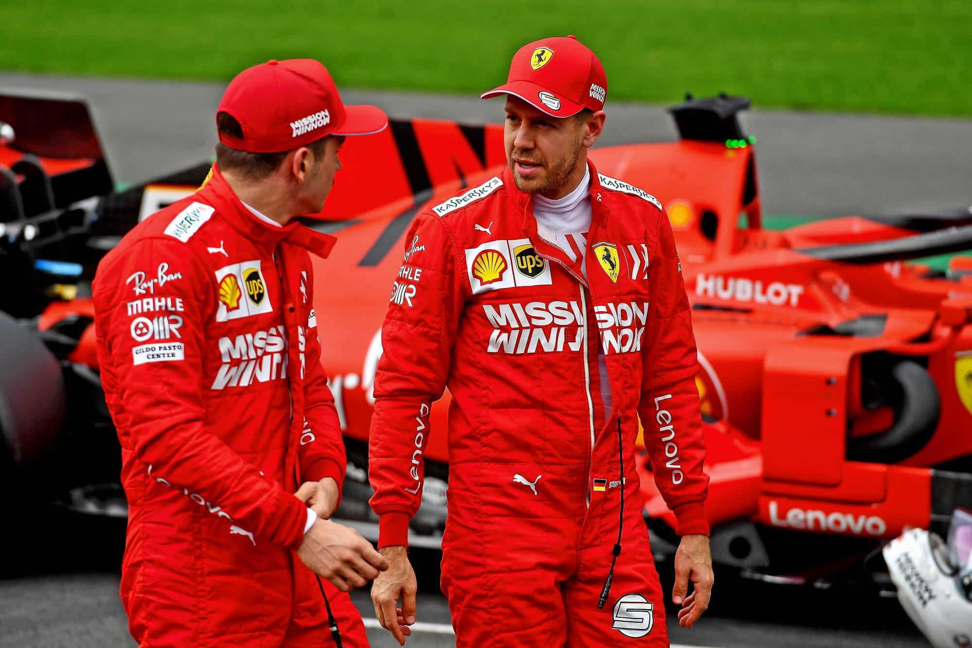 Charles Leclerc Ferrari SF90 and Sebastian Vettel after qualifying Mexican GP F1 2019 Q Photo Ferrari