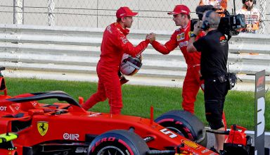 Charles Leclerc and Sebastian Vettel Ferrari Russian GP F1 2019 post qualifying Photo Ferrari