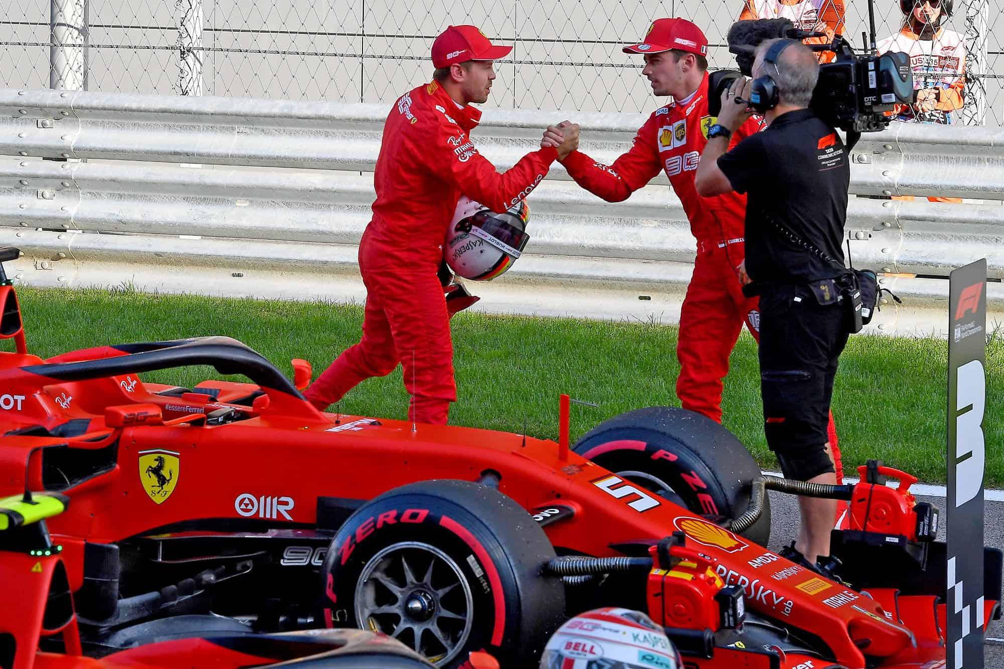 Charles Leclerc and Sebastian Vettel Ferrari Russian GP F1 2019 post qualifying Photo Ferrari