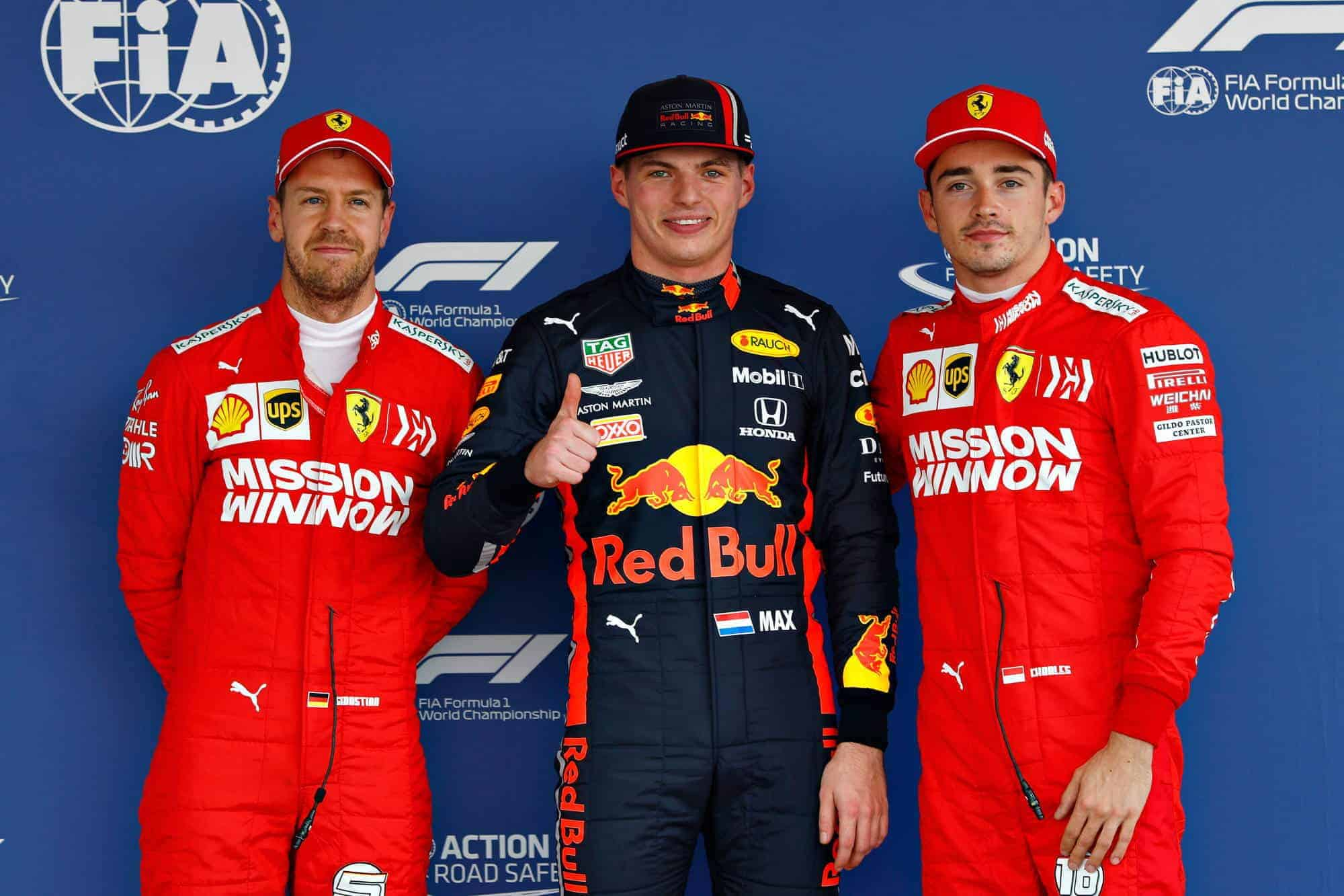 Verstappen Red Bull Leclerc Vettel Mexican GP F1 2019 post qualifying top three Photo Red Bull