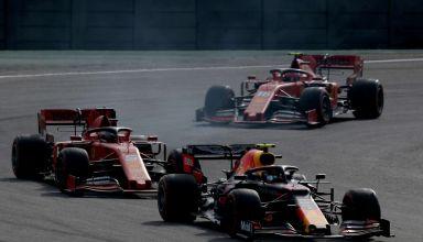 2019 Brazilian GP Albon leads Vettel and Leclerc Photo Red Bull