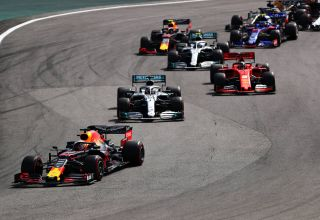2019 Brazilian GP F1 2019 start Verstappen leads Hamilton and Vettel Photo Red Bull
