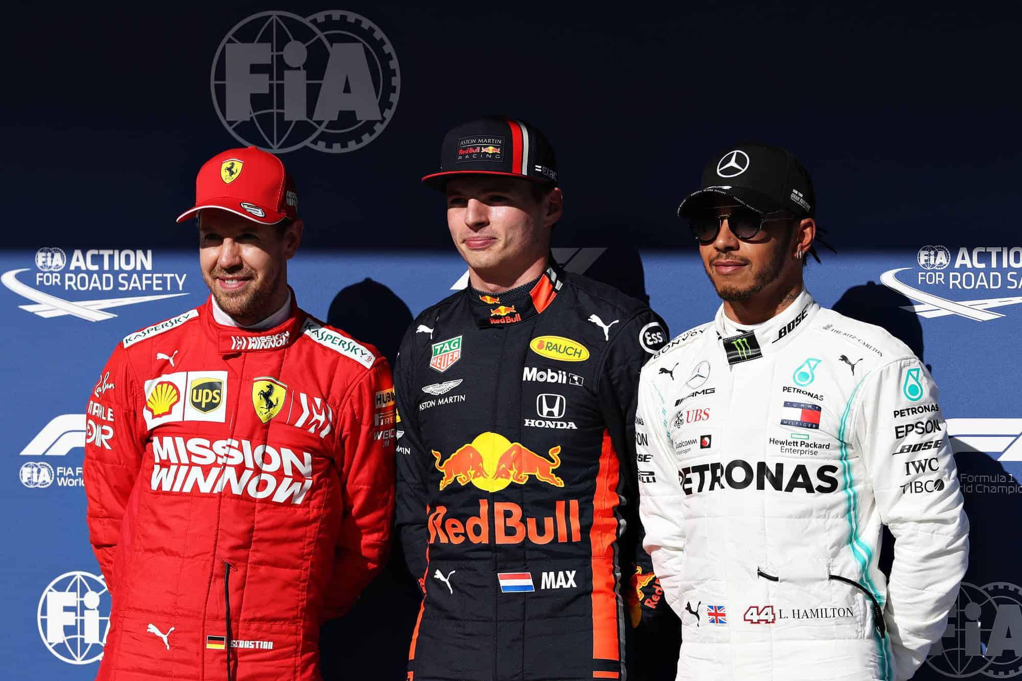 2019 Brazilian GP F1 Post Qualifying top three Verstappen Vettel Hamilton Photo Red Bull