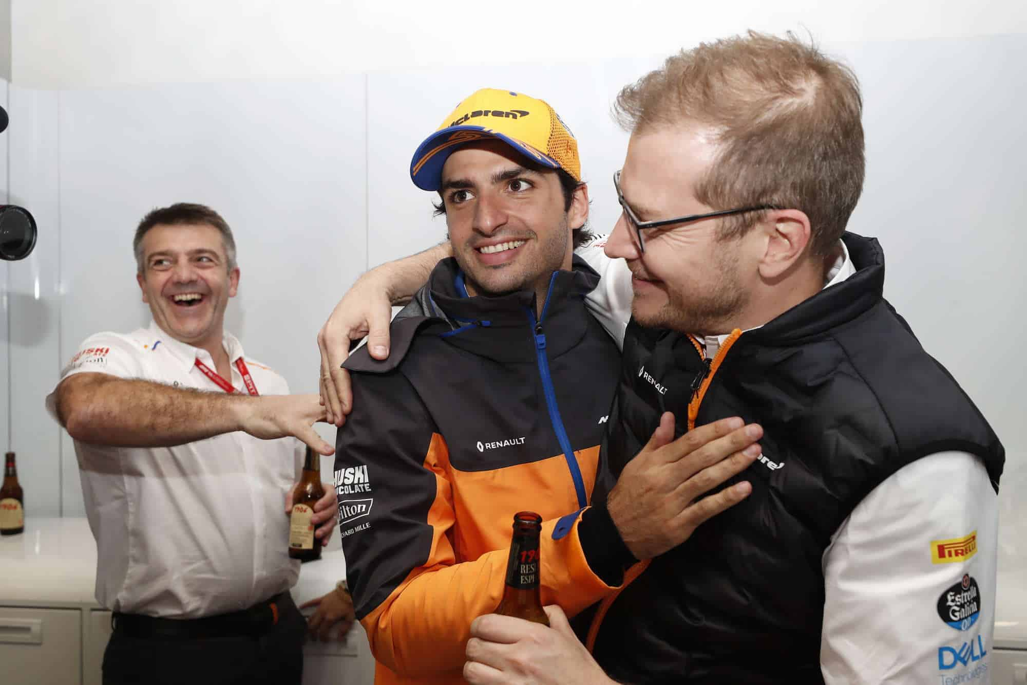 2019 Brazilian Grand Prix Sunday Sainz and Seidl celebrate McLaren podium Photo McLaren