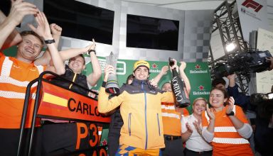 2019 Brazilian Grand Prix Sunday Sainz celebrates McLaren podium Photo McLaren