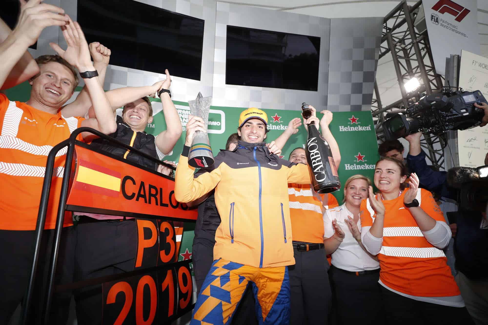 2019 Brazilian Grand Prix Sunday Sainz celebrates McLaren podium Photo McLaren