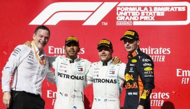 2019 USA GP podium James Allison Lewis Hamilton Valtteri Bottas Max Verstappen Photo Daimler