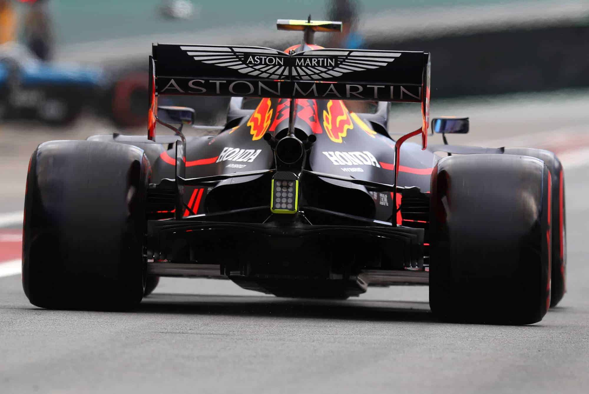 Alexander Albon Red Bull Honda Brazilian GP F1 2019 rear end diffuser Photo Red Bull
