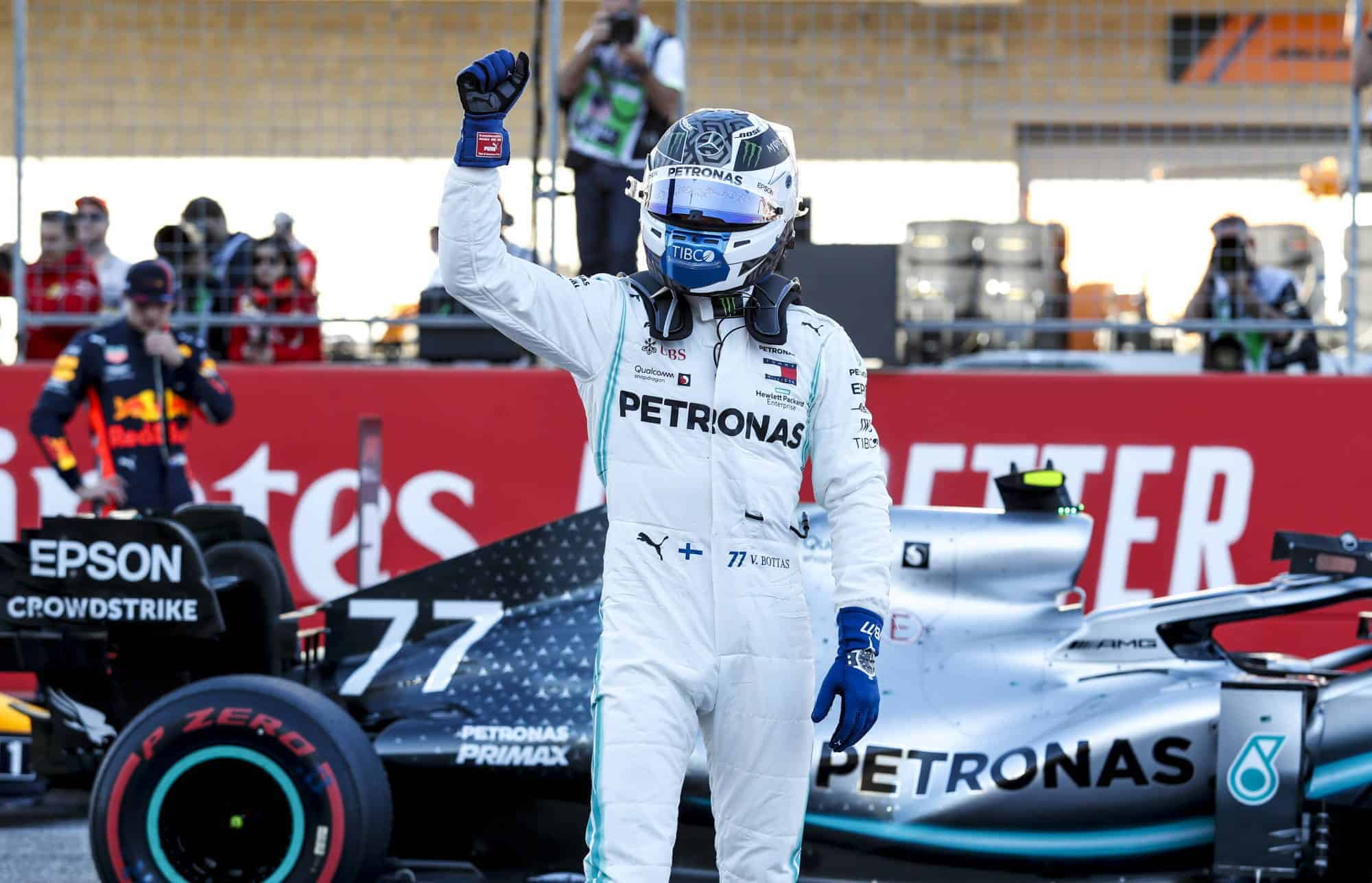Bottas Mercedes USA GP Austin F1 after Qualifying on track with helmet with F1 W10 car 2019 Photo Daimler