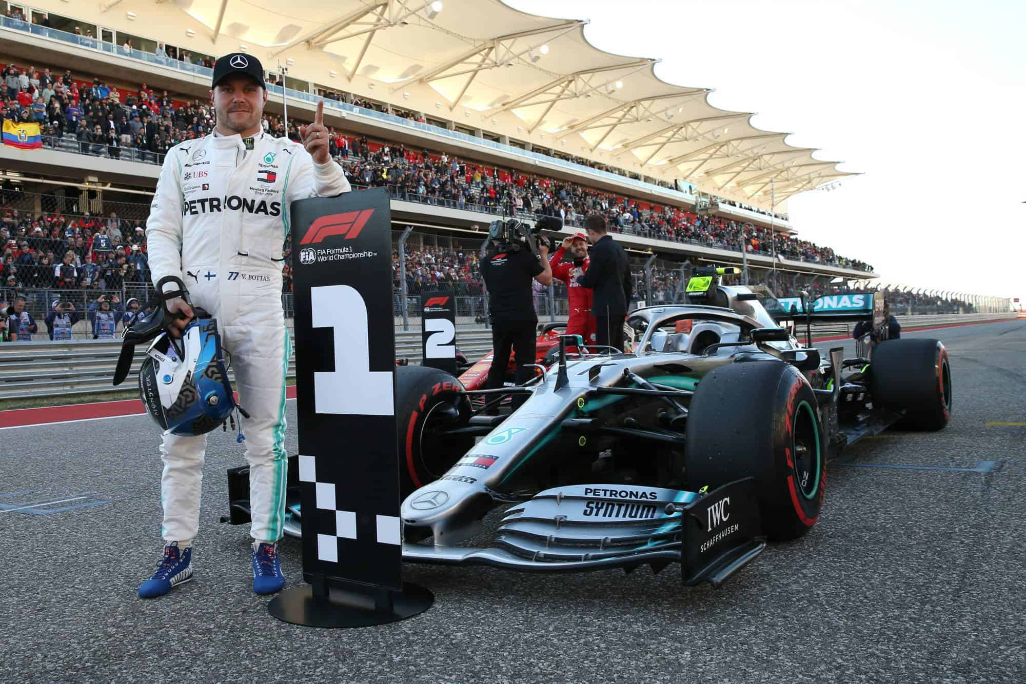 Bottas Mercedes USA GP Austin F1 after Qualifying on trakc with F1 W10 car 2019 Photo Daimler