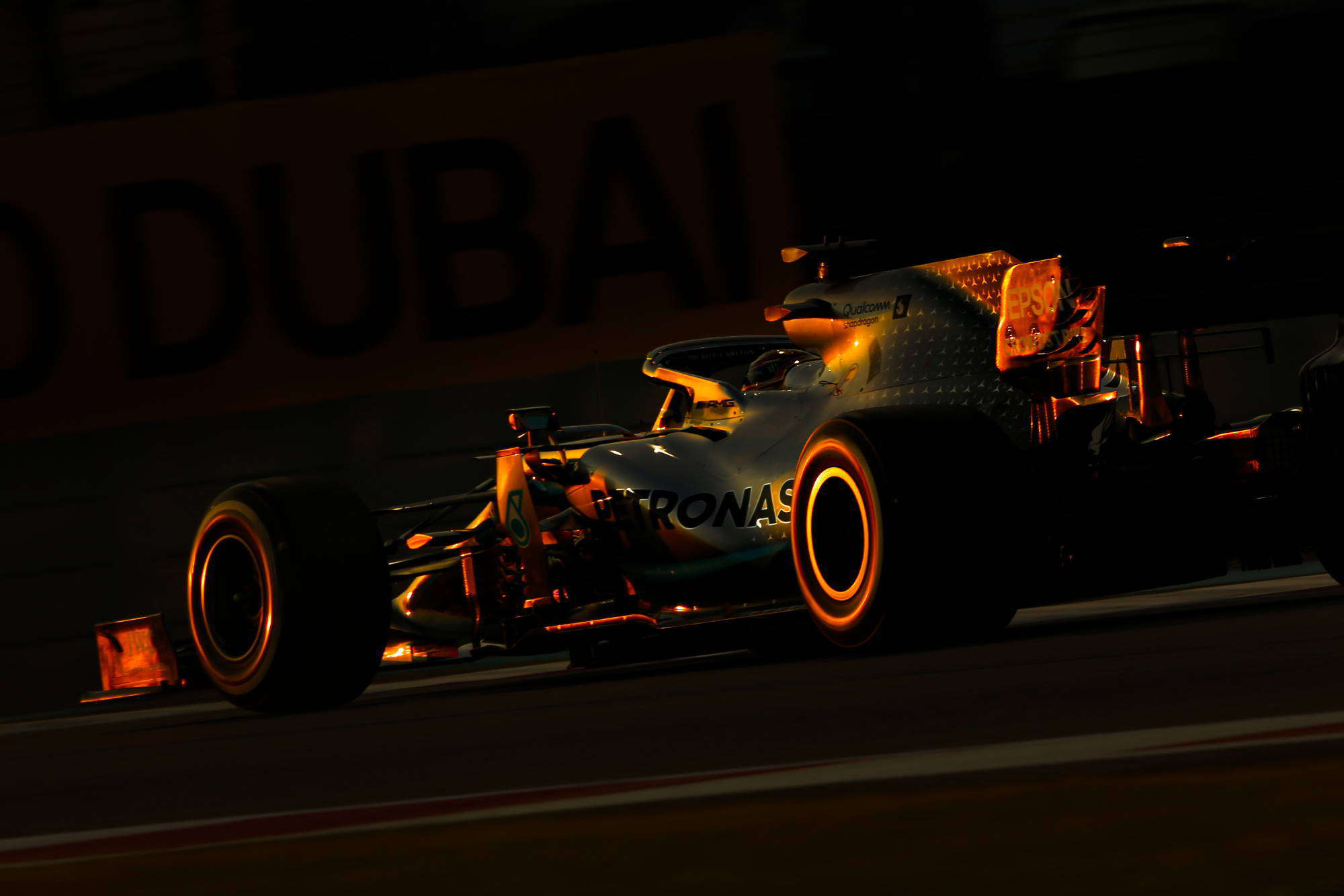 Hamilton Mercedes F1 W10 Abu Dhabi GP dark Photo Daimler