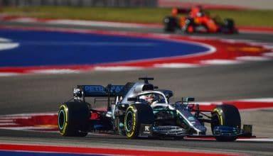 Hamilton leads Vettel USA GP Austin F1 2019 Photo Sky Sports F1