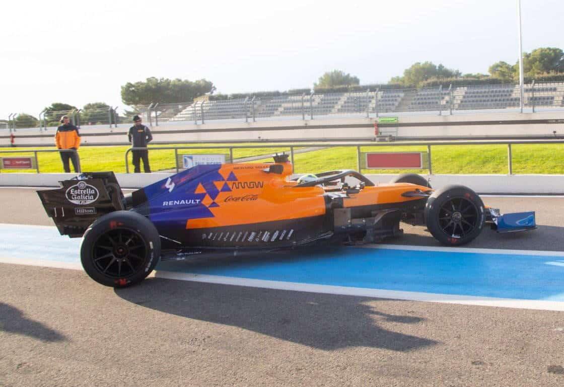 McLaren MCL34 Pirelli F1 18 inch tyres test pitlane Photo McLaren Twitter