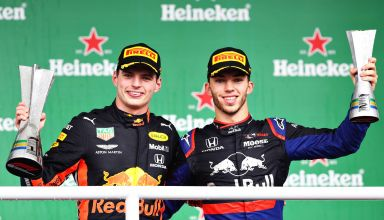 Verstappen Gasly Brazilian GP F1 2019 podium Photo Red Bull