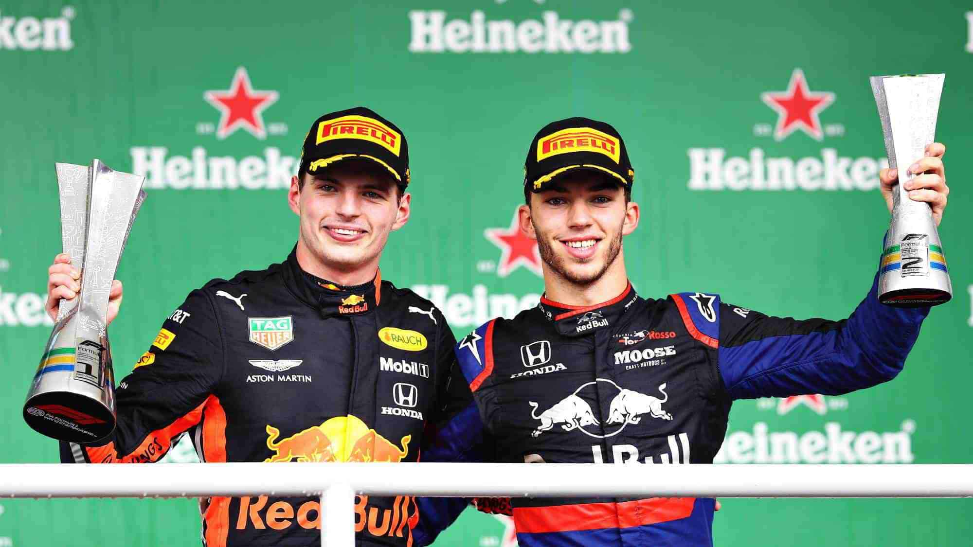 Verstappen Gasly Brazilian GP F1 2019 podium Photo Red Bull