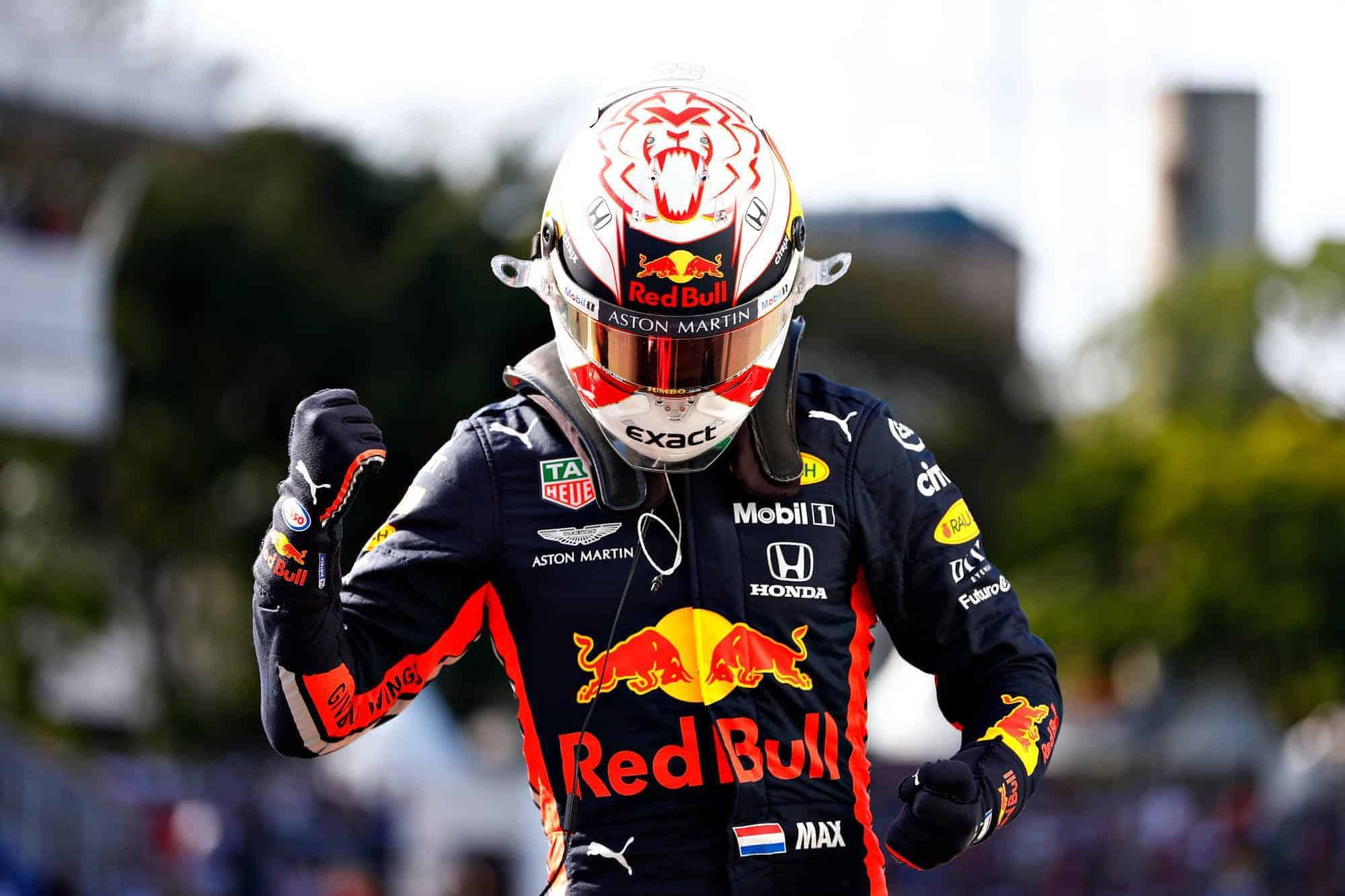 Verstappen Red Bull Brazilian GP F1 2019 post qualifying outside the car Photo Red Bull
