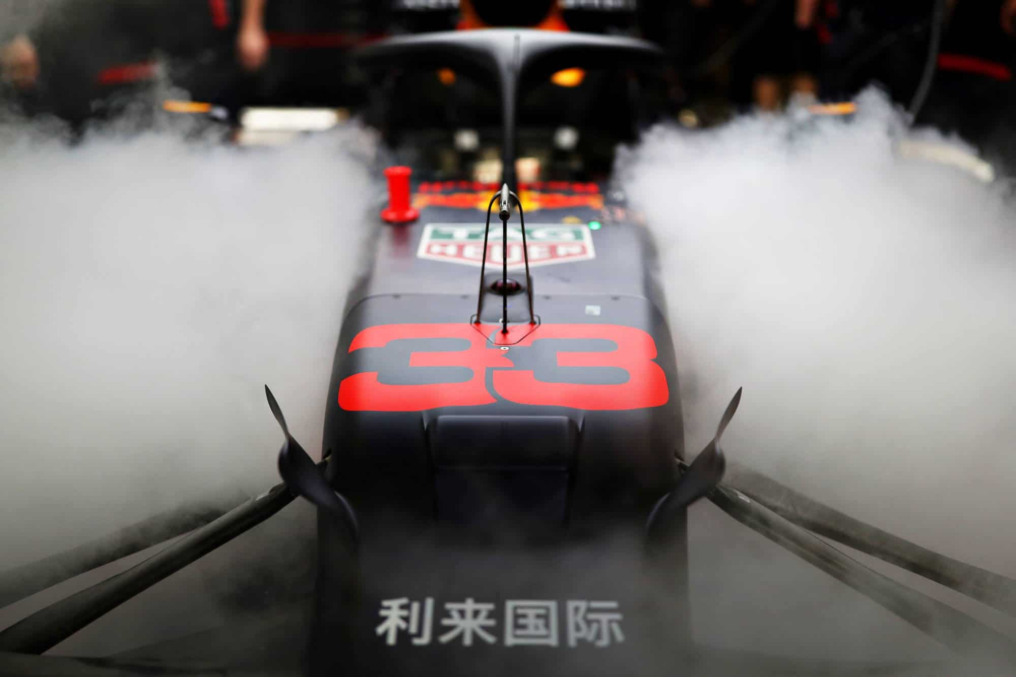 Verstappen Red Bull RB15 Abu Dhabi GP F1 2019 garage smoke Photo Red Bull