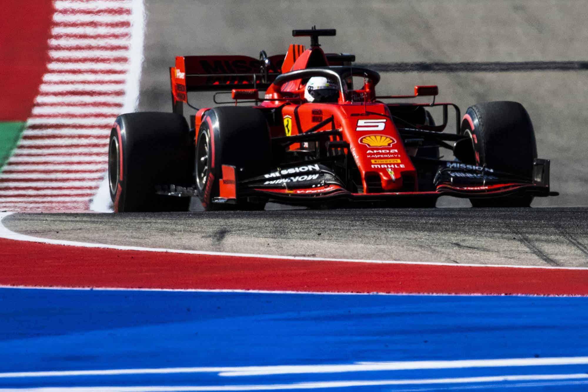 Vettel Ferrari US GP Austin F1 2019 FP Photo Ferrari