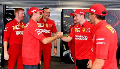 Vettel and Leclerc Ferrari Brazilian GP F1 2019 garage Photo Ferrari