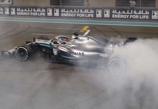 2019 Abu Dhabi GP Hamilton celebrates victory with donuts Photo Daimler