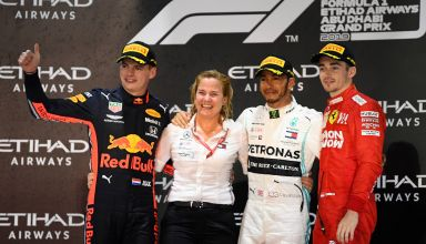 2019 Abu Dhabi GP Verstappen Hamilton Leclerc on the podium Photo Red Bull