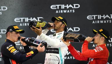 2019 Abu Dhabi GP Verstappen Hamilton Leclerc on the podium drinking Photo Red Bull
