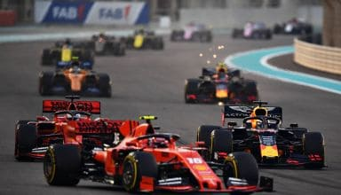 2019 Abu Dhabi GP Verstappen battling Leclerc and Vettel Photo Red Bull