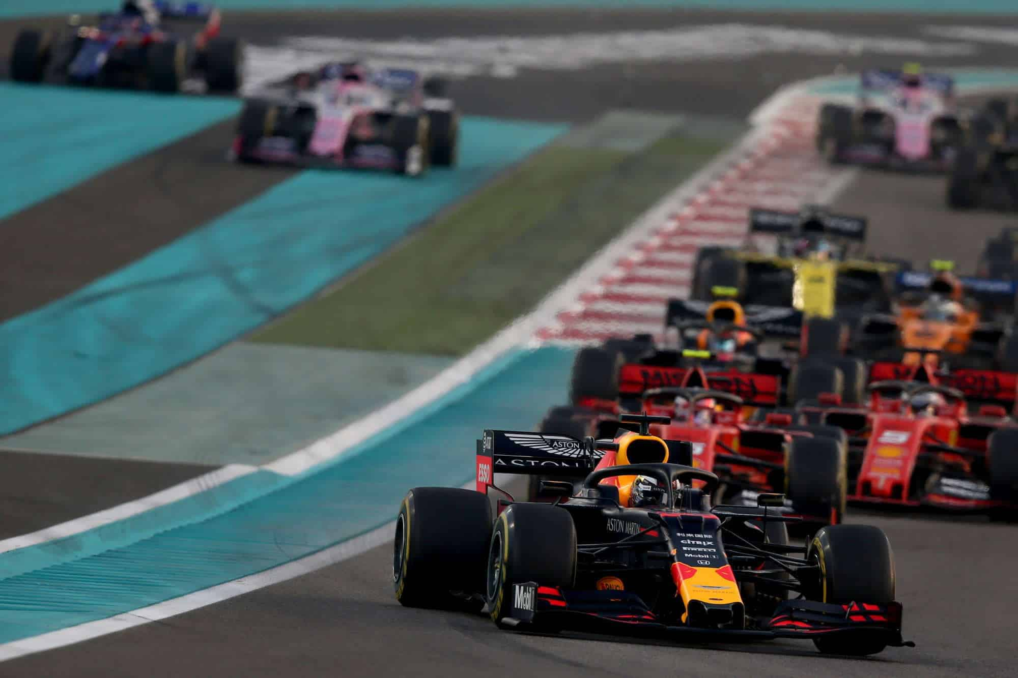 2019 Abu Dhabi GP start Verstappen leads Ferraris Photo Red Bull