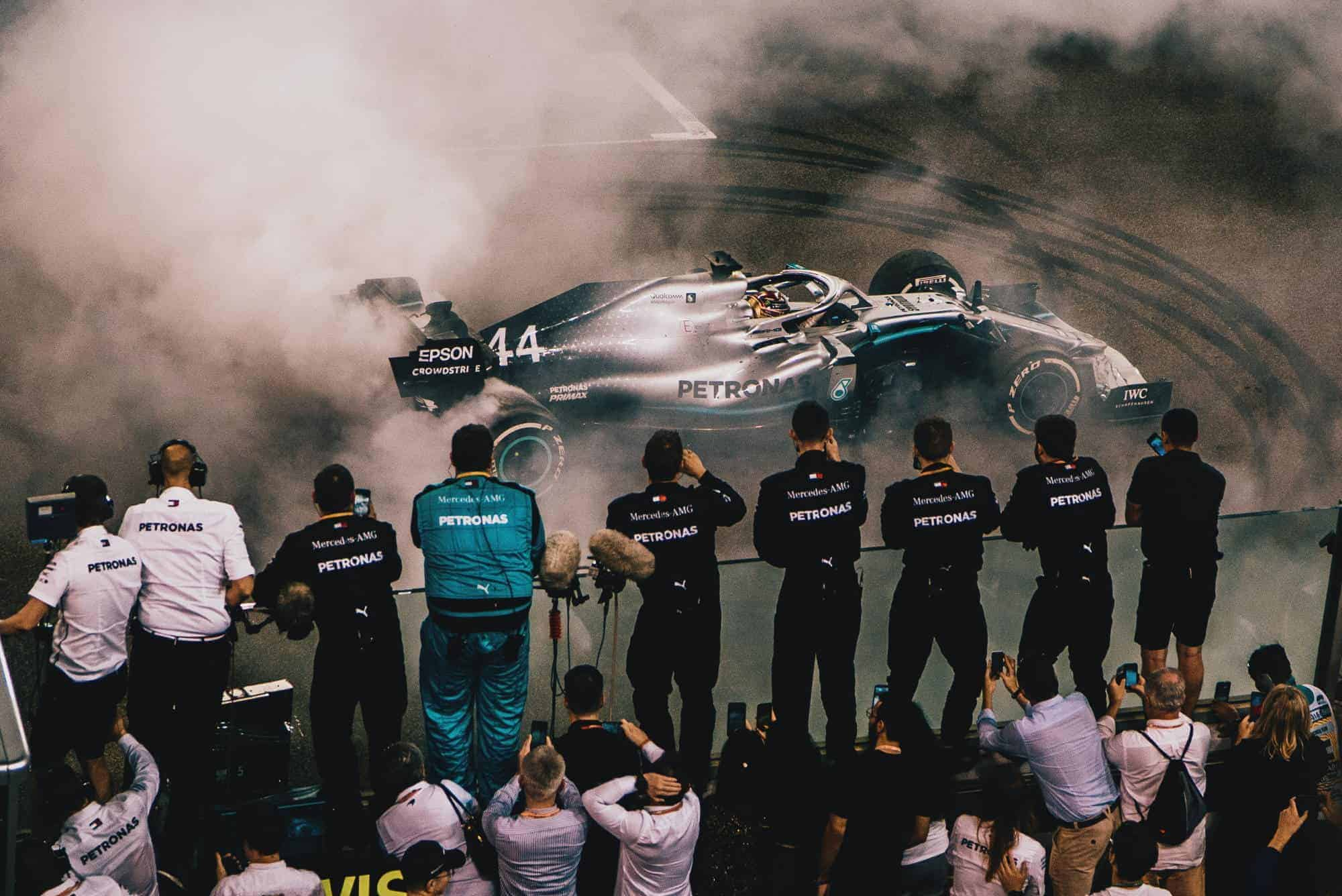 Hamilton Mercedes F1 2019 Abu Dhabi post race on track in the car burnouts Photo Daimler