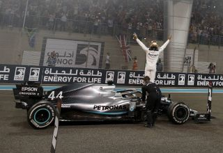 Hamilton Mercedes F1 2019 Abu Dhabi post race on track on the car Photo Daimler