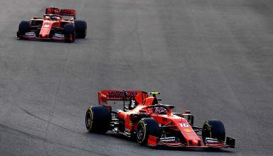 Leclerd leads Vettel 2019 Abu Dhabi GP Photo Ferrari