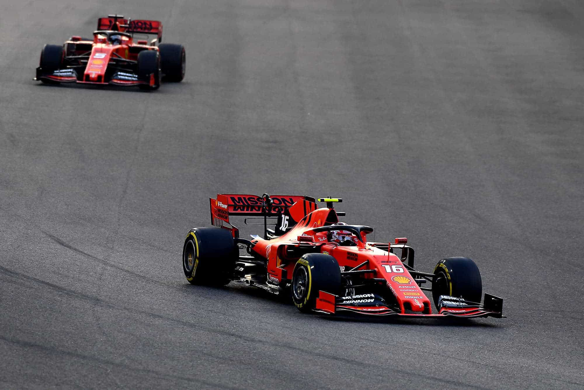 Leclerd leads Vettel 2019 Abu Dhabi GP Photo Ferrari
