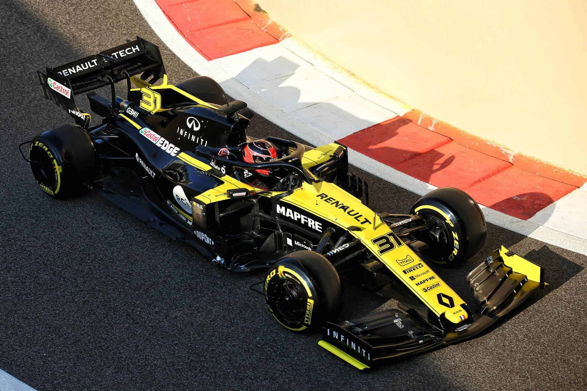 Ocon Renault F1 2019 post season Abu Dhabi test pitlane exit Photo Renault