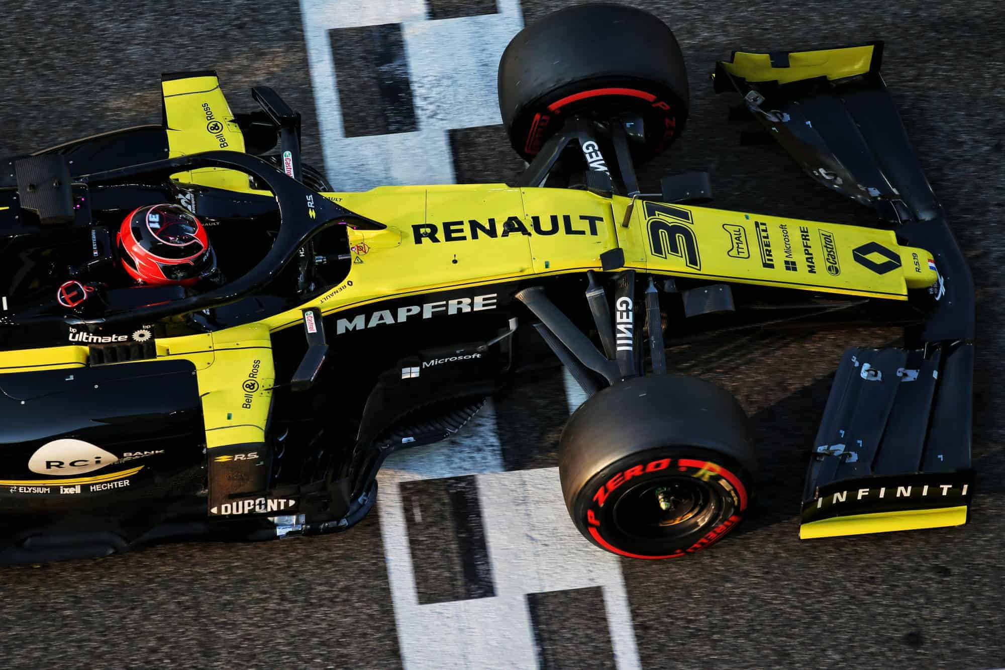 Ocon Renault F1 2019 post season Abu Dhabi test side top Photo Renault