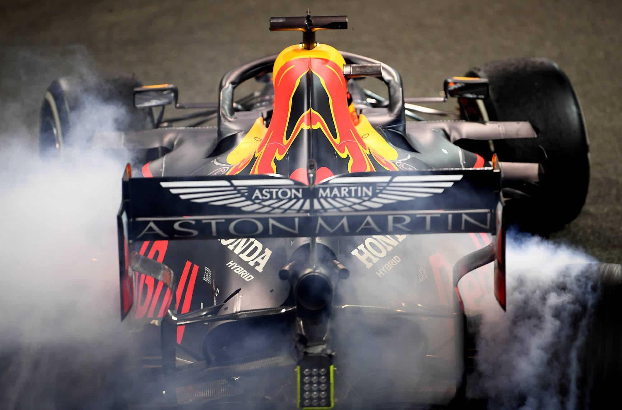 Verstappen Red Bull Abu Dhabi GP F1 2019 rear end burning rubber Photo Red Bull