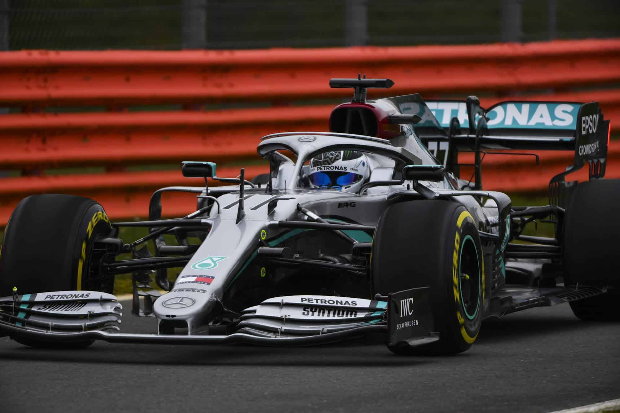 2020 F1 Mercedes F1 W11 first shakedown Bottas zoom front 2000px Silverstone Photo Daimler