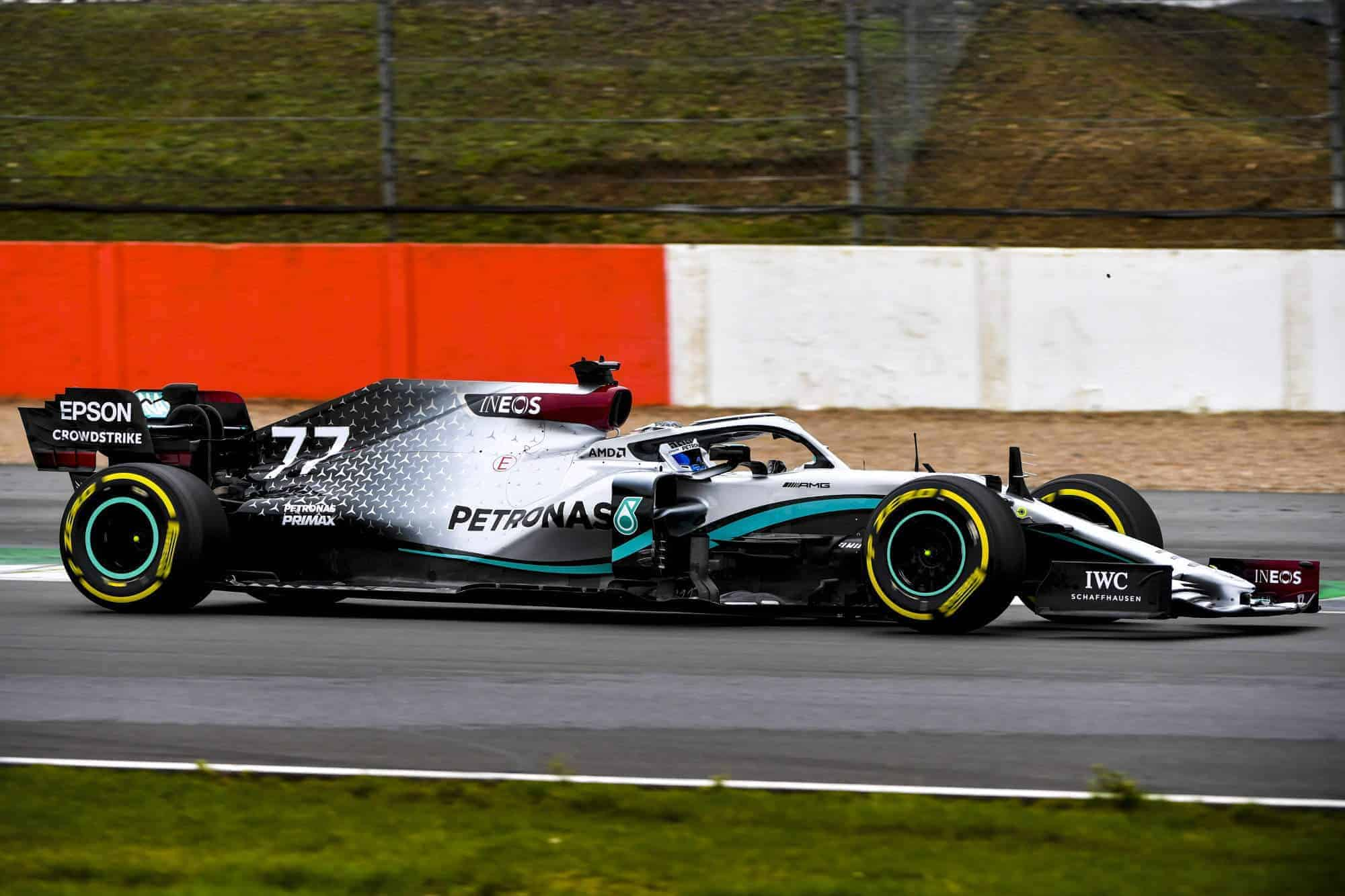 2020 F1 Mercedes F1 W11 first shakedown Silverstone Bottas side 2000px Photo Daimler