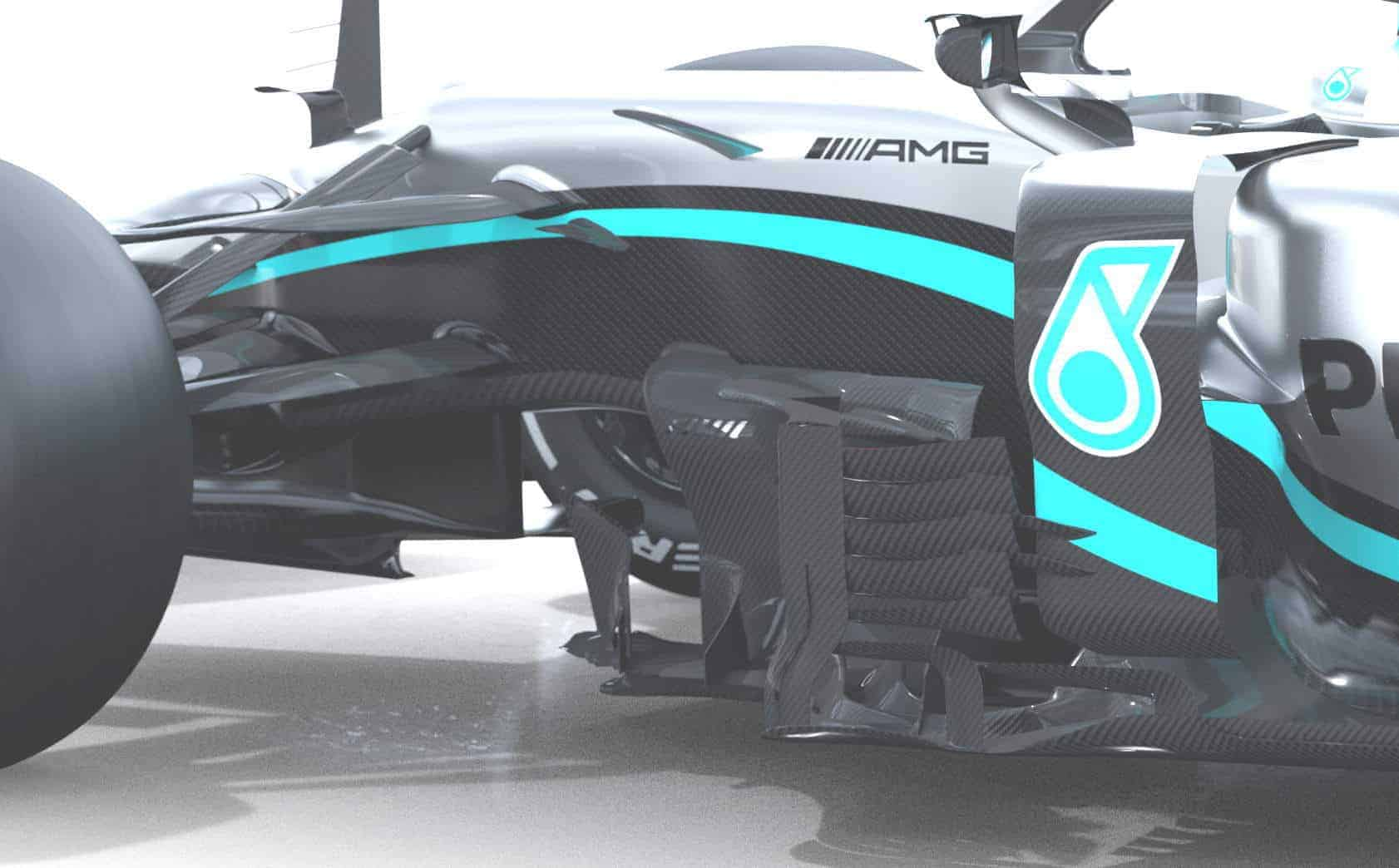 2020 F1 Mercedes F1 W11 front bargeboards behind front wheel side angle view Photo Daimler Edited by MAXF1net