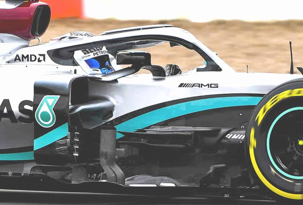 2020 F1 Mercedes F1 W11 front bargeboards behind front wheel side angle view shakedown Photo Daimler Edited by MAXF1net
