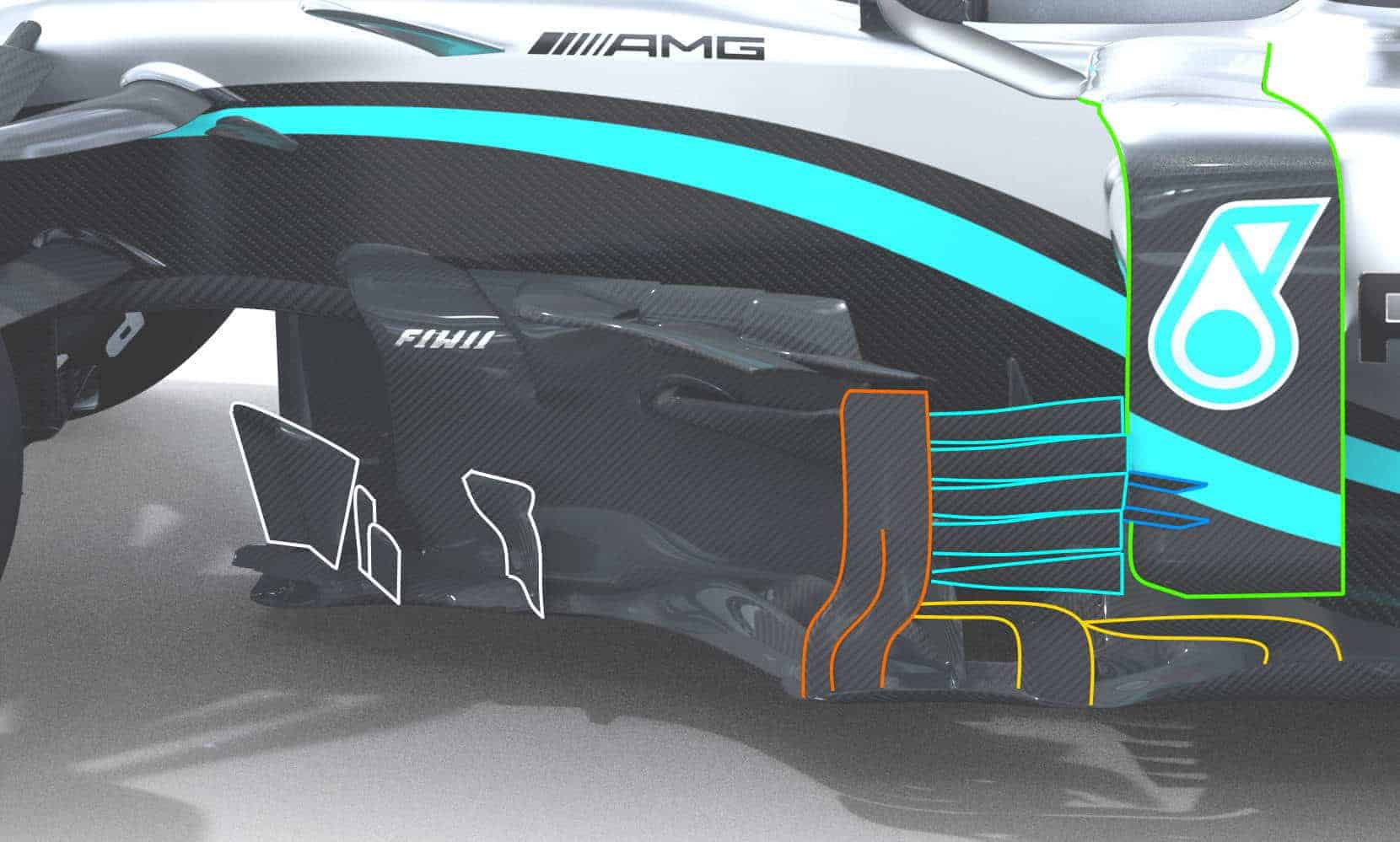2020 F1 Mercedes F1 W11 front bargeboards behind front wheel side view Photo Daimler Edited by MAXF1net