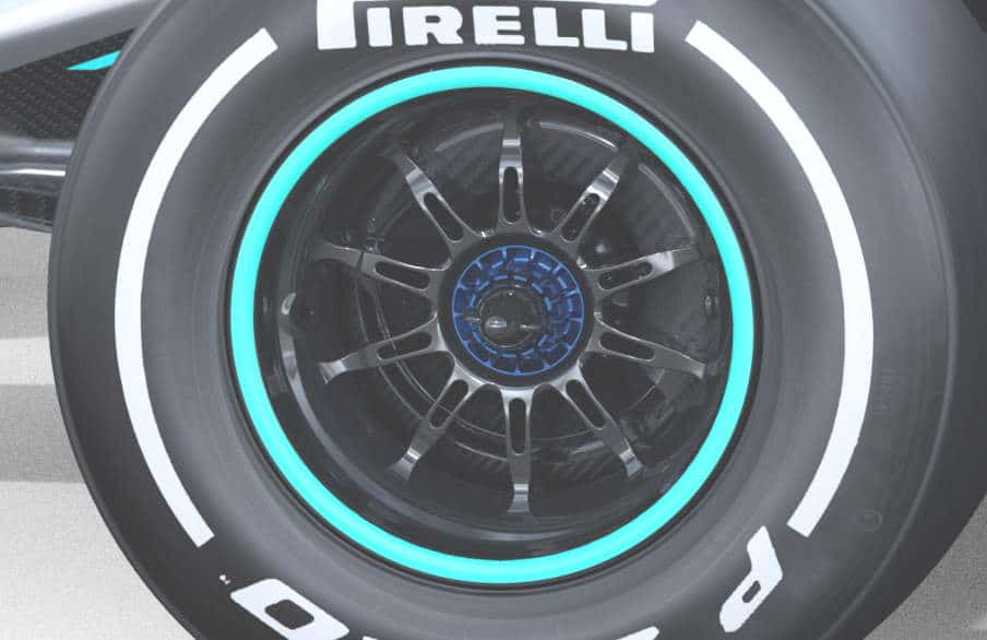 2020 F1 Mercedes F1 W11 front wheels side view Photo Daimler Edited by MAXF1net