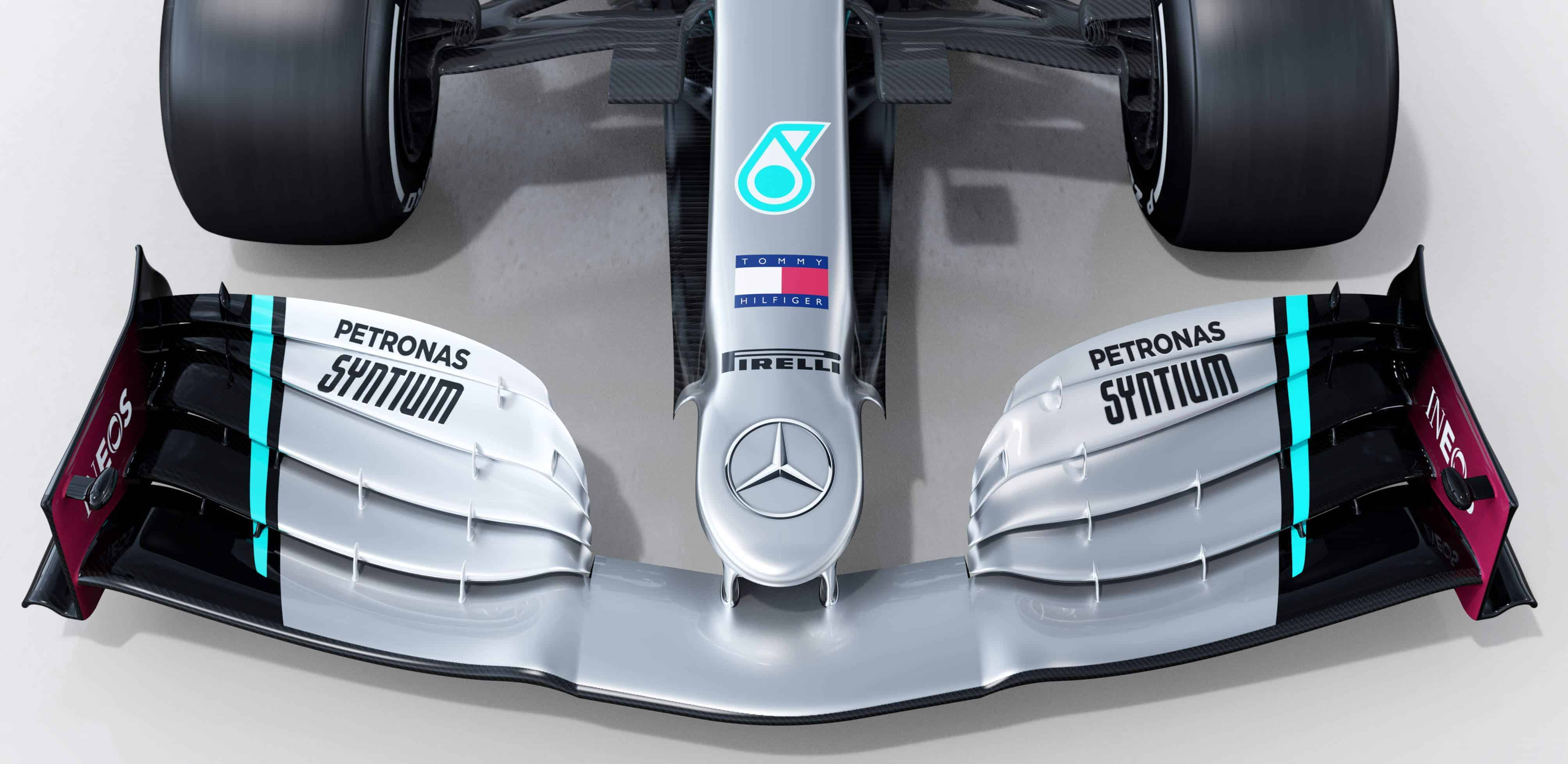 2020 F1 Mercedes F1 W11 nose and front wing Photo Daimler Edited by MAXF1net