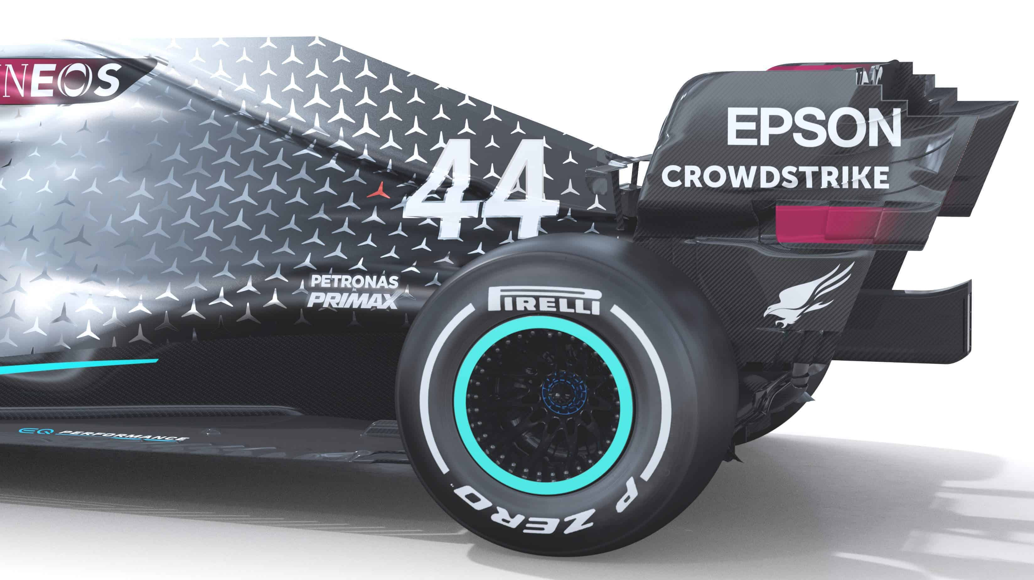 2020 F1 Mercedes F1 W11 rear end angled side view Photo Daimler Edited by MAXF1net