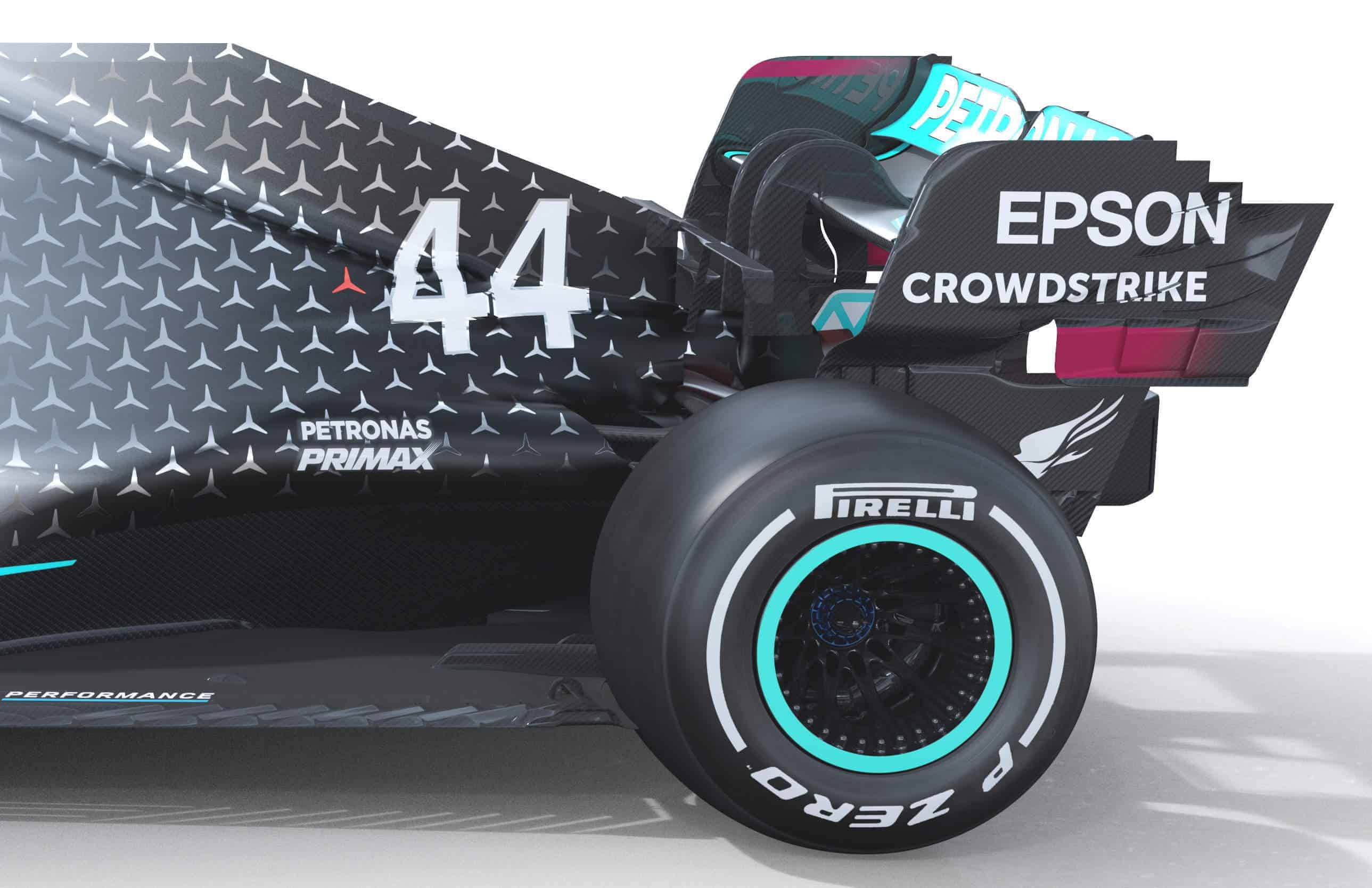 2020 F1 Mercedes F1 W11 rear end side view Photo Daimler Edited by MAXF1net