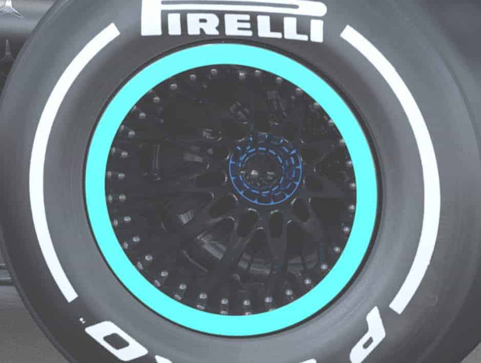 2020 F1 Mercedes F1 W11 rear wheels side view Photo Daimler Edited by MAXF1net