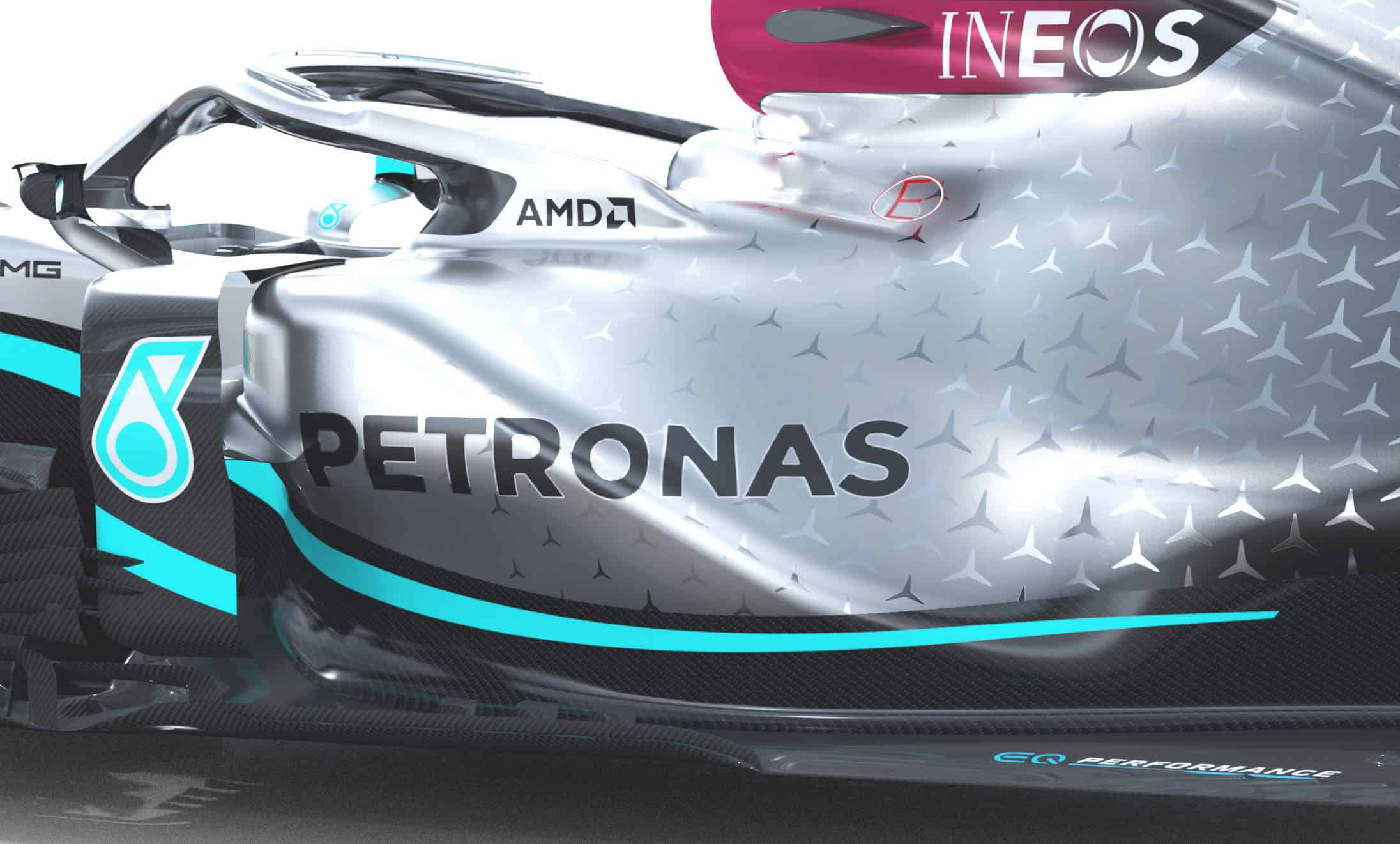 2020 F1 Mercedes F1 W11 sidepods side angle view Photo Daimler Edited by MAXF1net