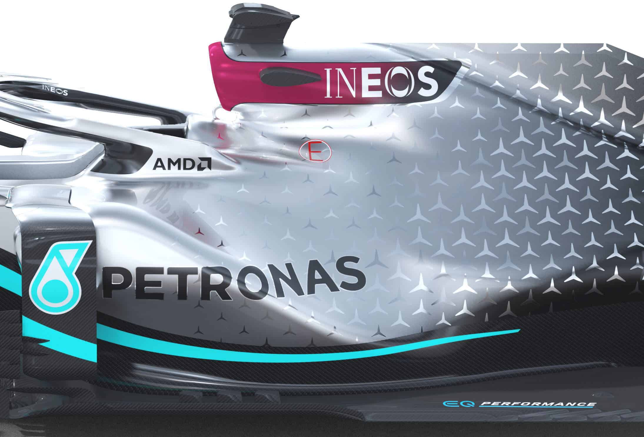 2020 F1 Mercedes F1 W11 sidepods side view Photo Daimler Edited by MAXF1net