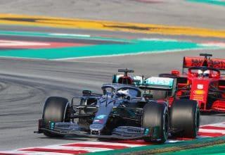 Bottas-Mercedes-F1-W11-Barcelona-Test-1-leads-Vettel-Ferrari-SF1000-Day-3-Photo-Daimler