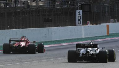 Ferrari vs Mercedes drag race F1 2020 Test 2 Day 3 Barcelona main straight Photo Pirelli